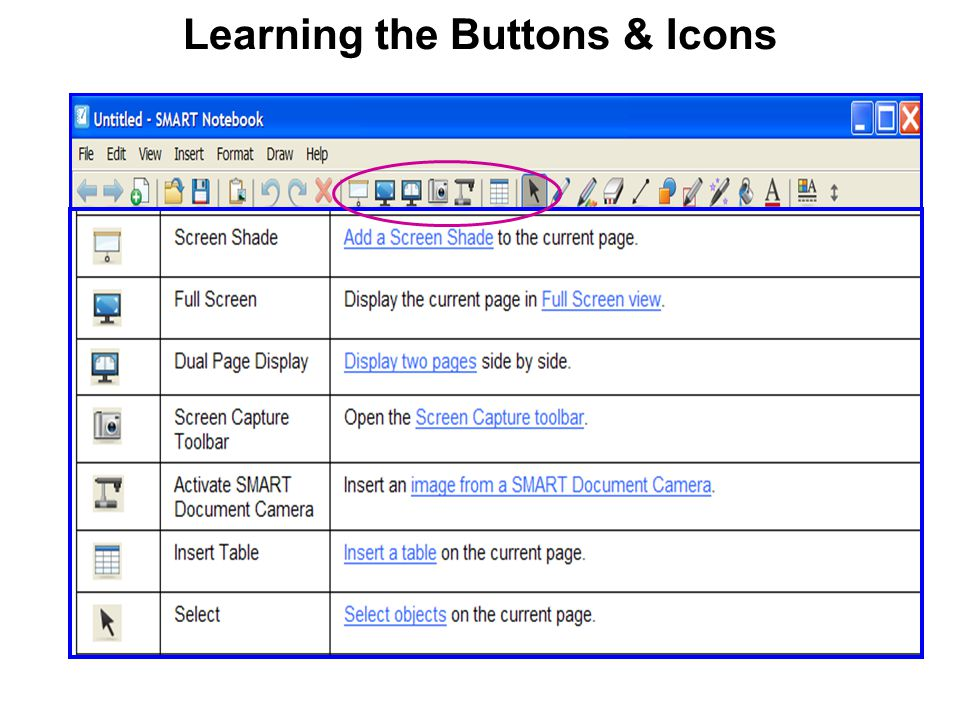 Learning the Buttons & Icons