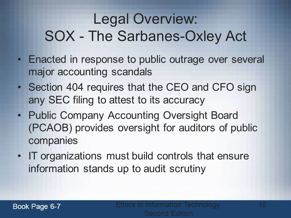 Legal Overview: SOX - The Sarbanes-Oxley Act