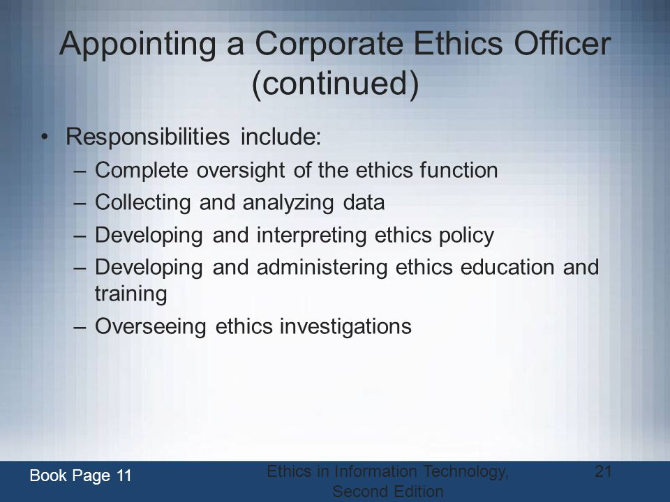 Appointing a Corporate Ethics Officer (continued)
