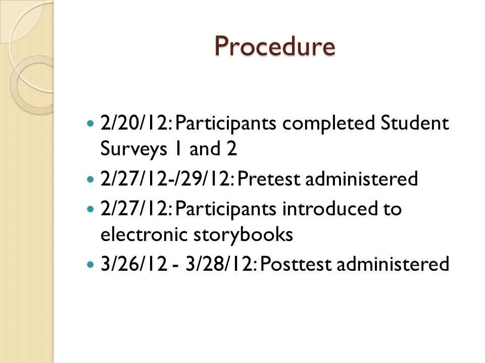Procedure 2/20/12: Participants completed Student Surveys 1 and 2