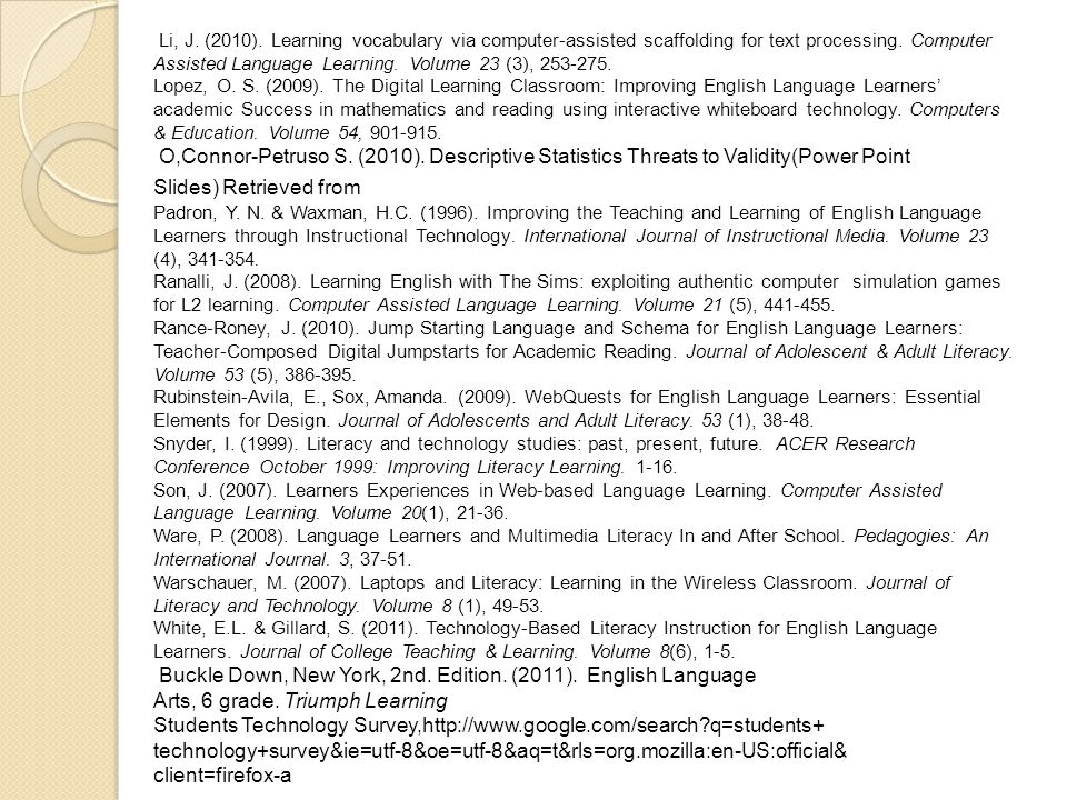 Li, J. (2010). Learning vocabulary via computer-assisted scaffolding for text processing.