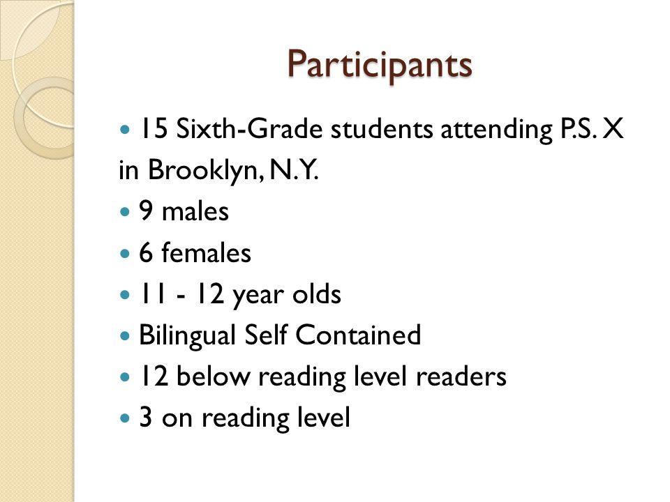 Participants 15 Sixth-Grade students attending P.S. X