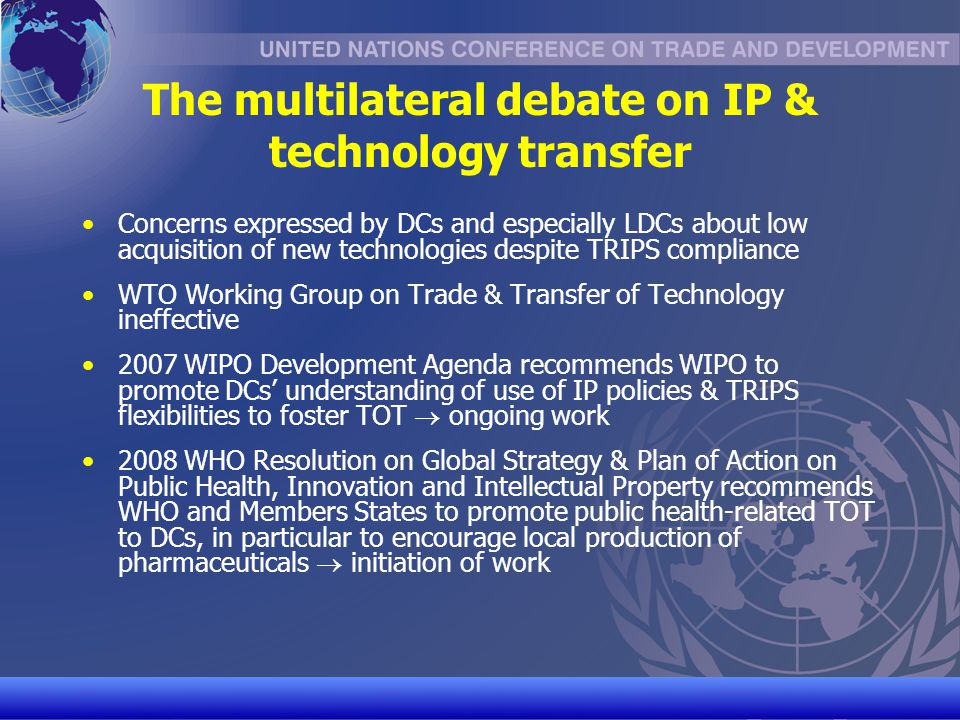 The multilateral debate on IP & technology transfer