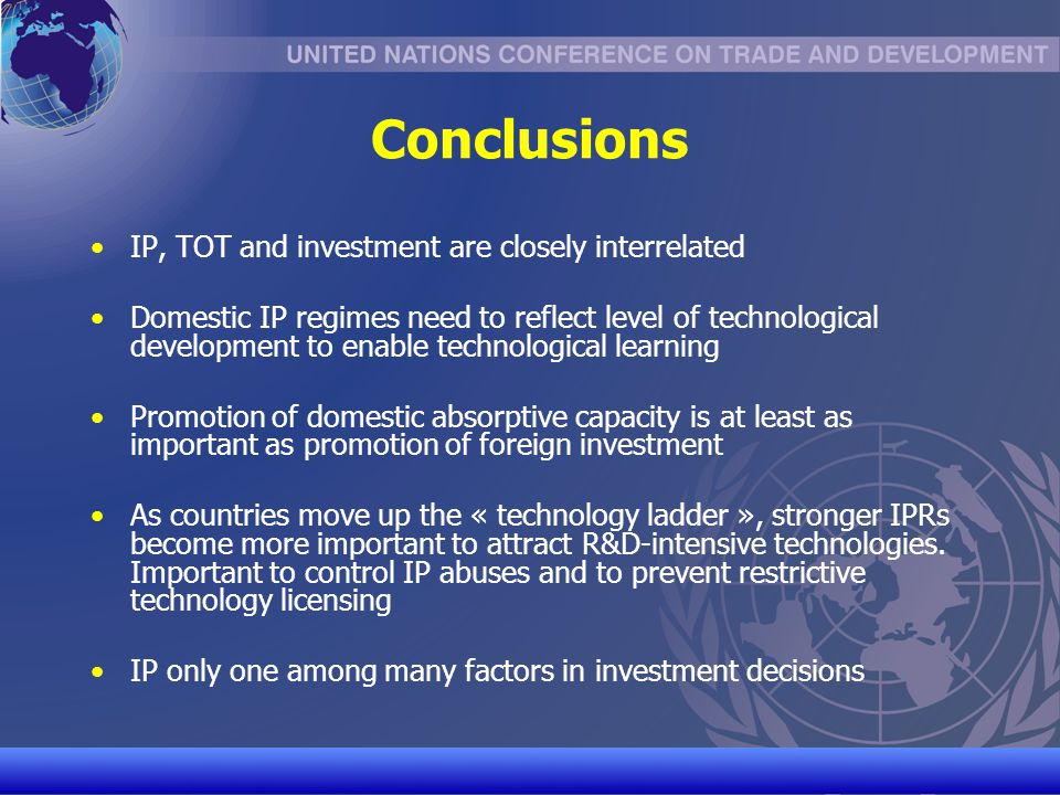Conclusions IP, TOT and investment are closely interrelated