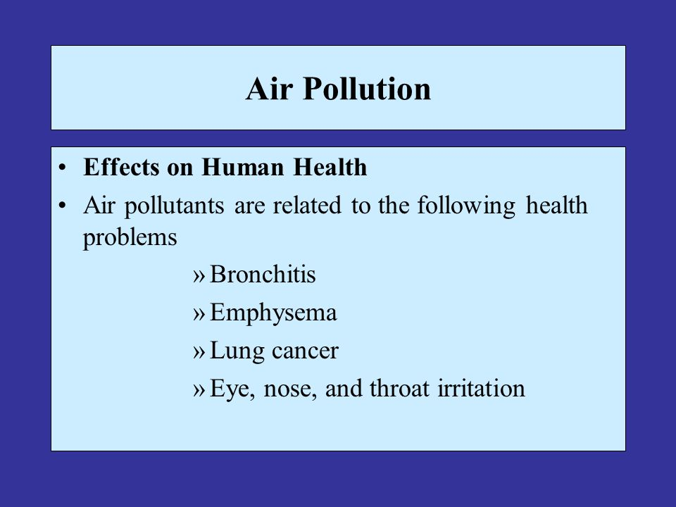 Air Pollution Effects on Human Health