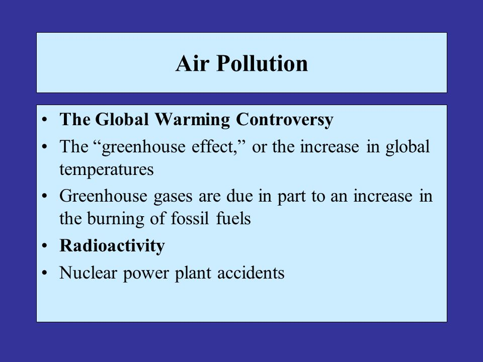Air Pollution The Global Warming Controversy