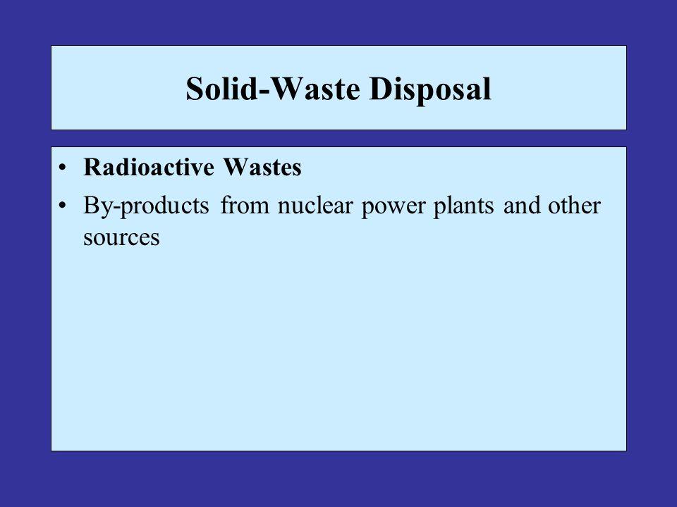 Solid-Waste Disposal Radioactive Wastes