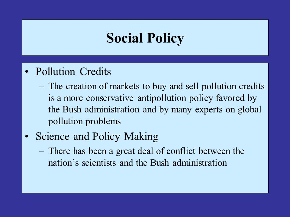 Social Policy Pollution Credits Science and Policy Making