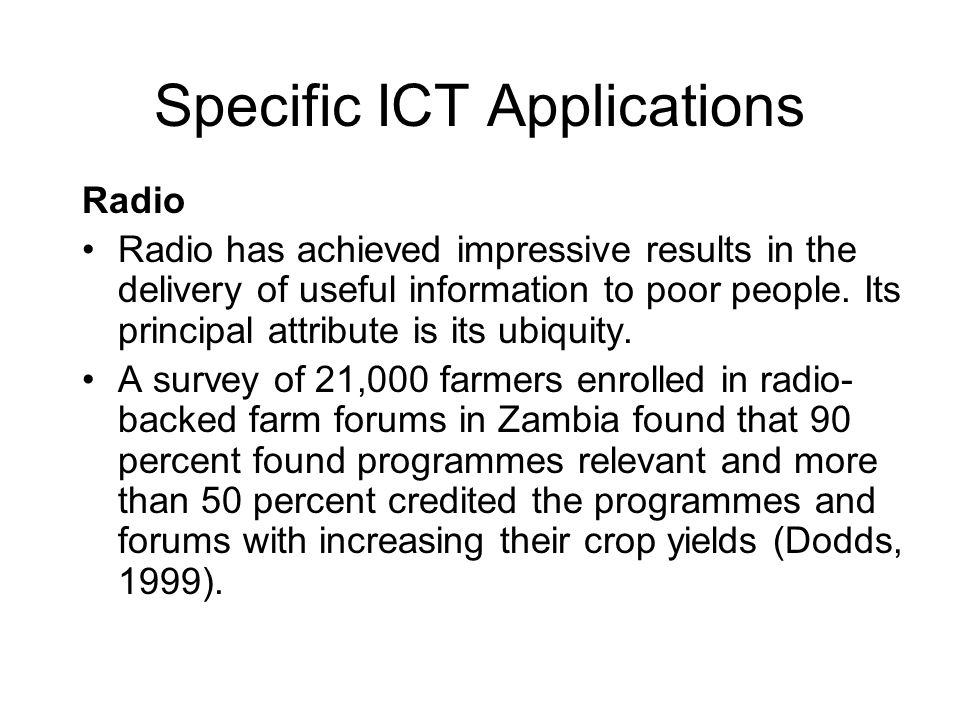 Specific ICT Applications