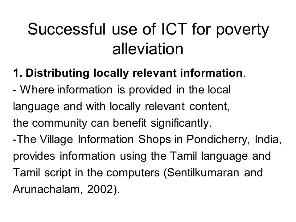 Successful use of ICT for poverty alleviation
