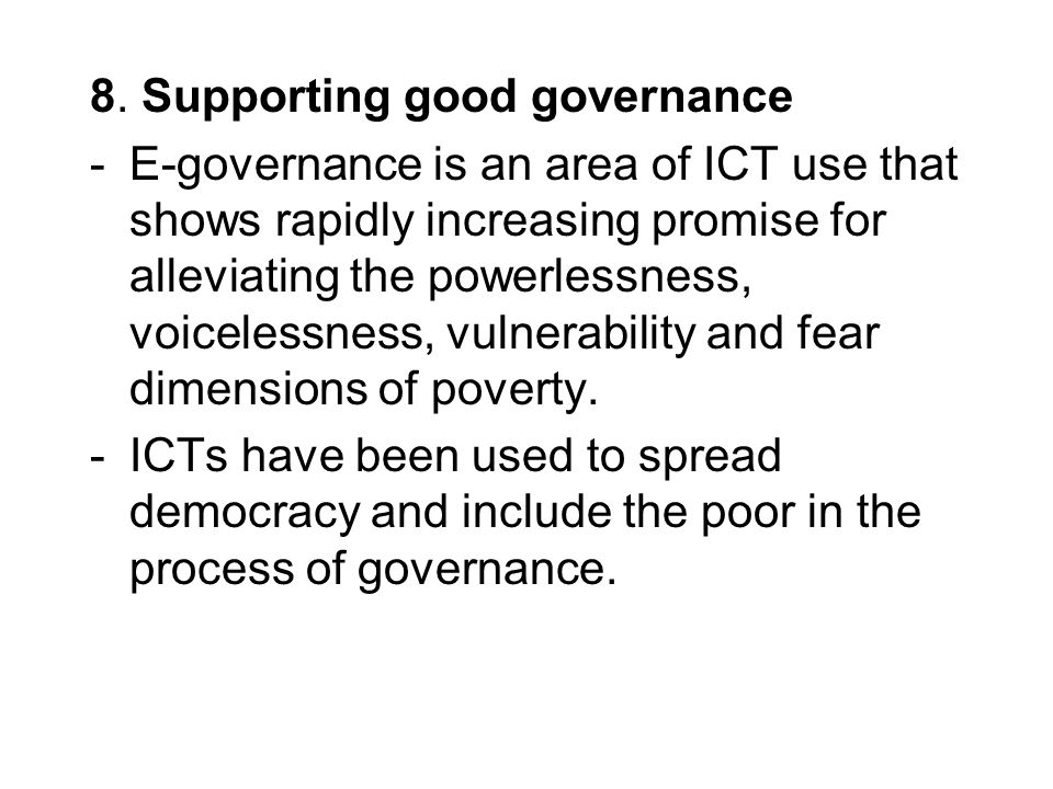 8. Supporting good governance
