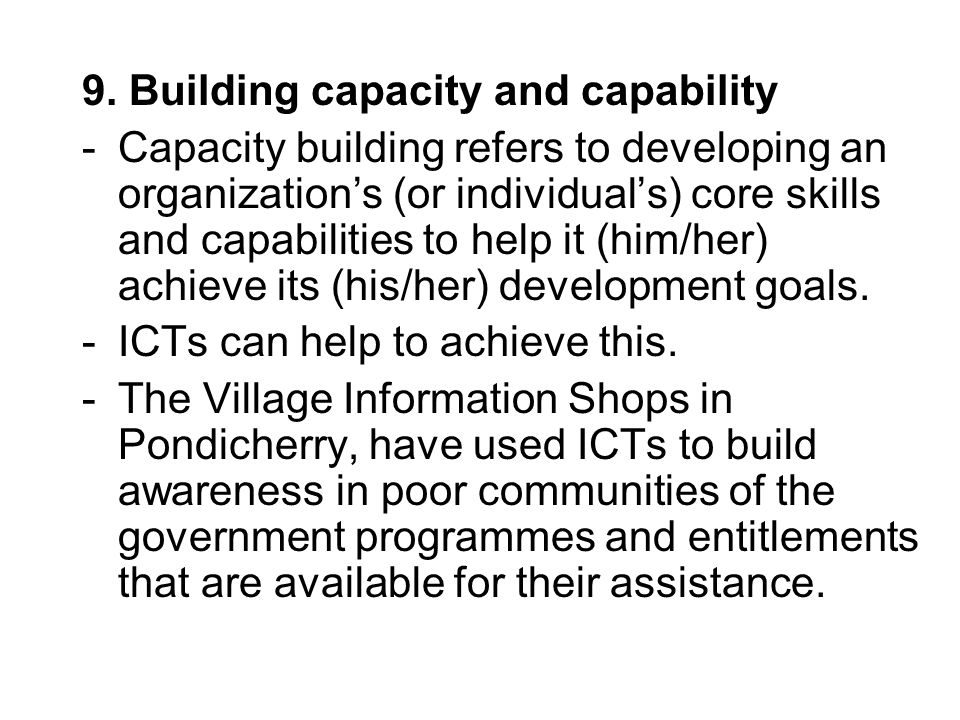 9. Building capacity and capability