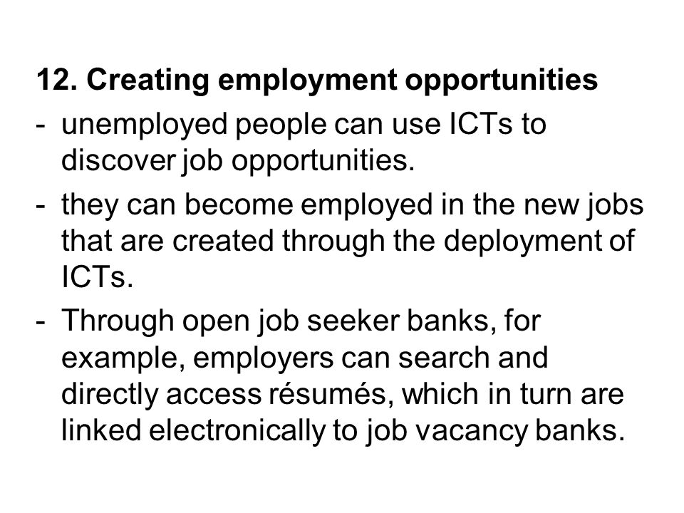 12. Creating employment opportunities