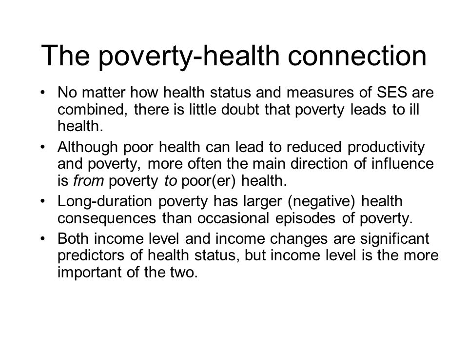 The poverty-health connection