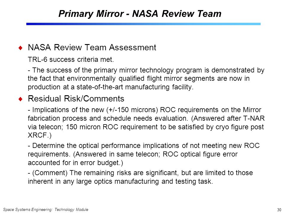 Primary Mirror - NASA Review Team