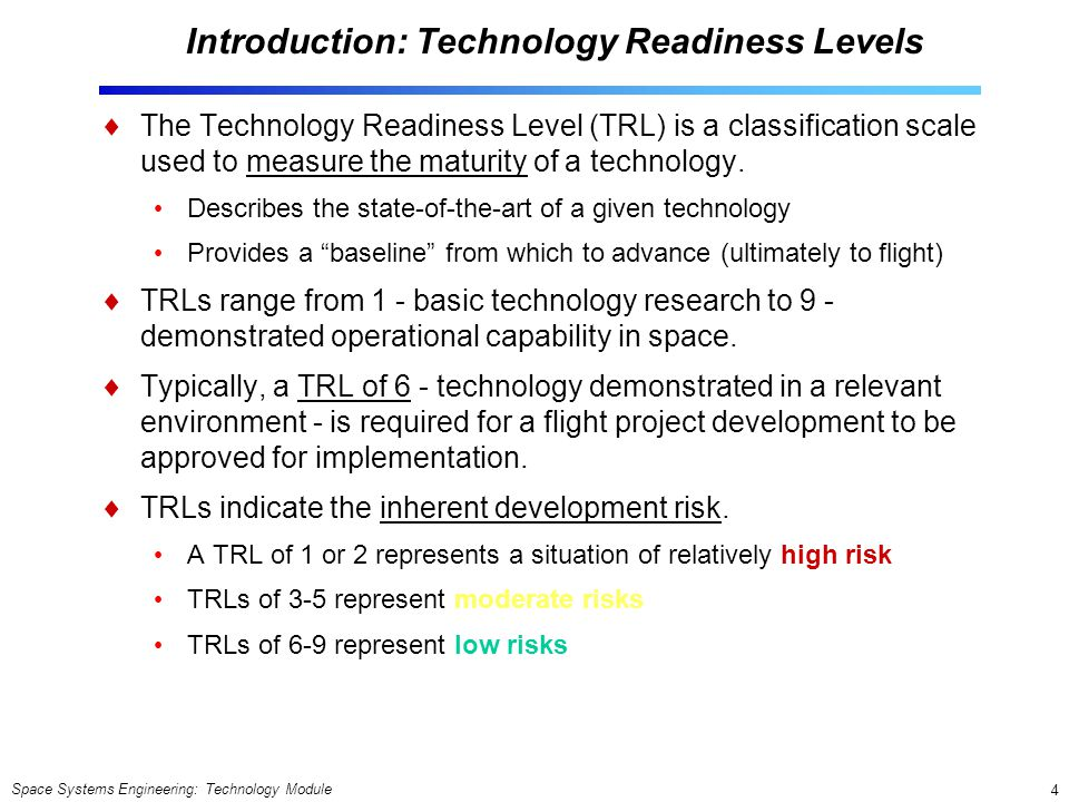 Introduction: Technology Readiness Levels