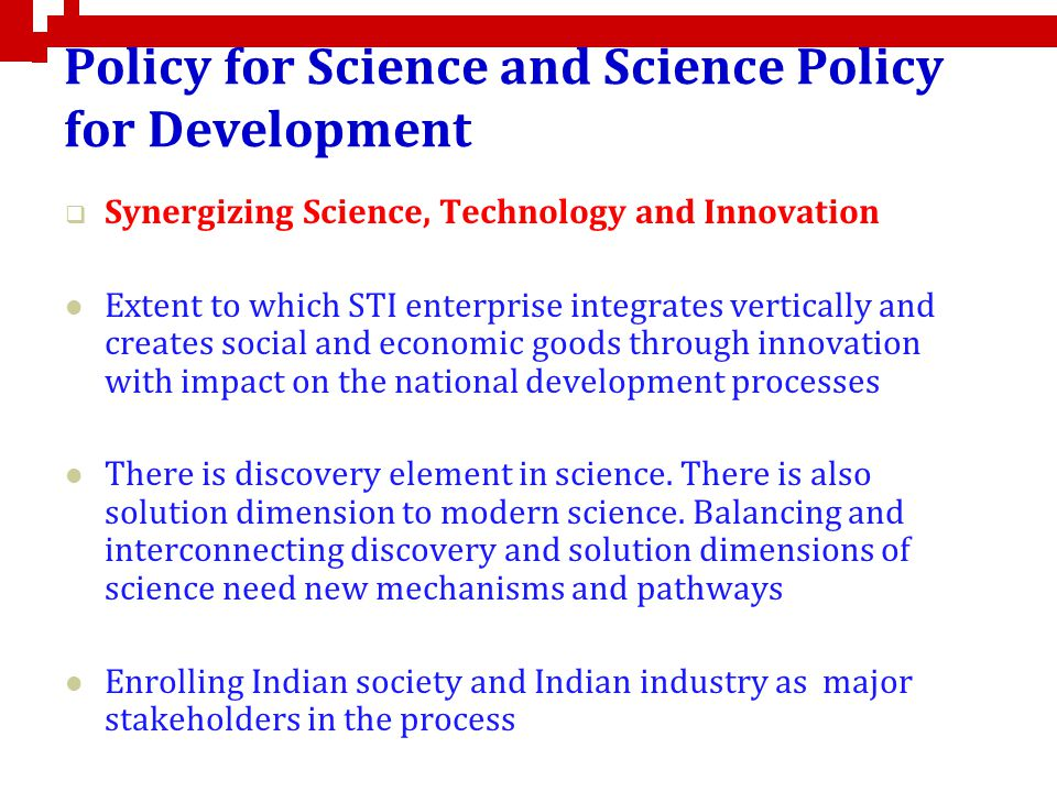Policy for Science and Science Policy for Development