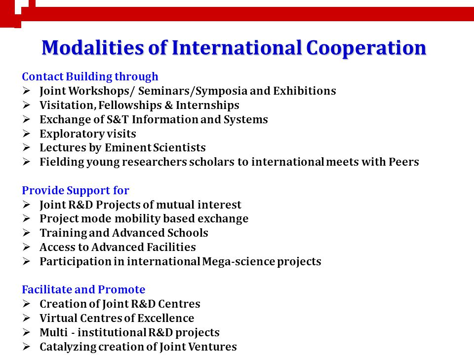 Modalities of International Cooperation