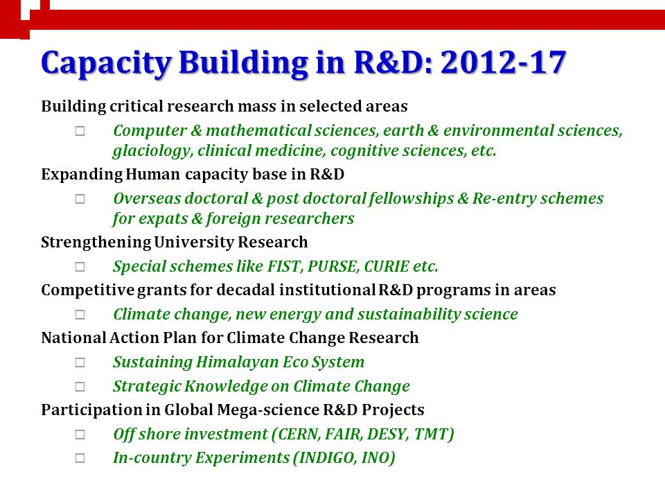 Capacity Building in R&D: 2012-17