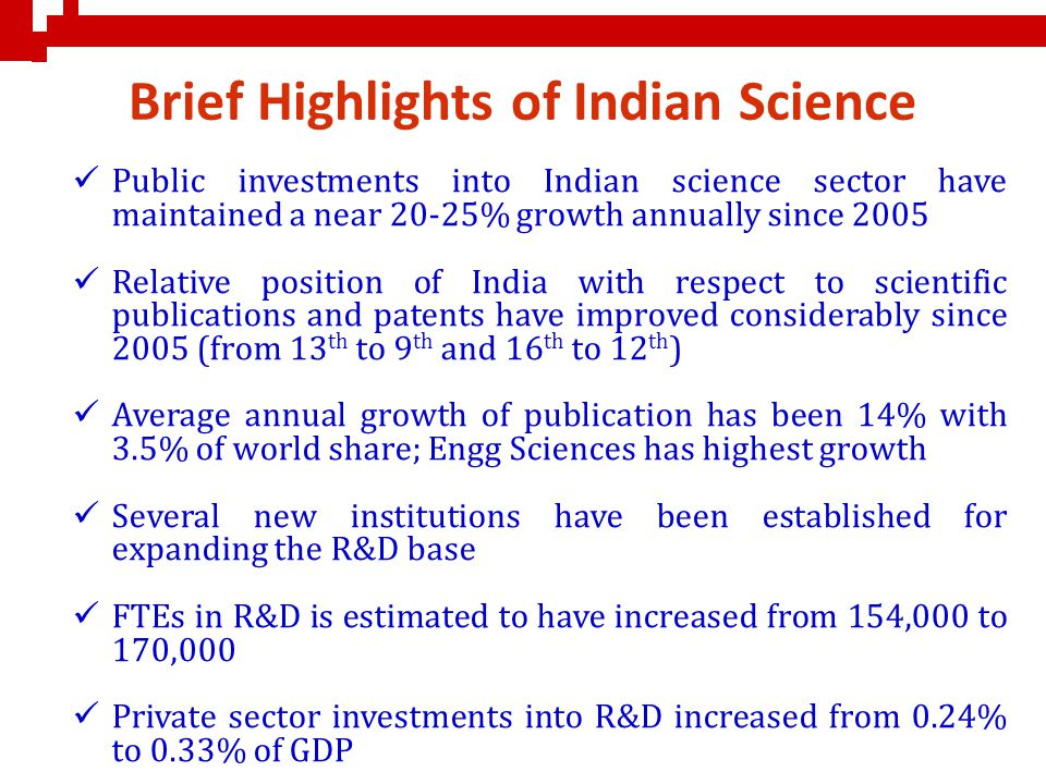 Brief Highlights of Indian Science