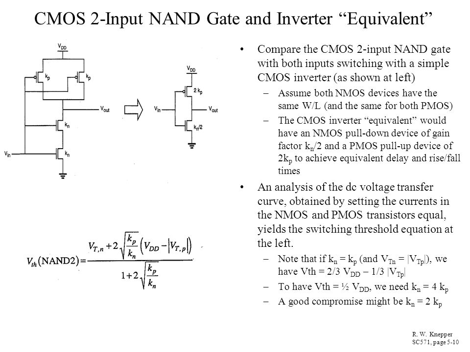 CMOS 2-Input NAND Gate and Inverter Equivalent