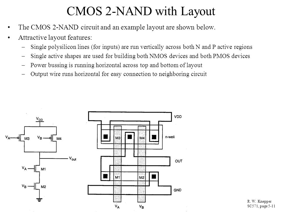 CMOS 2-NAND with Layout The CMOS 2-NAND circuit and an example layout are shown below. Attractive layout features: