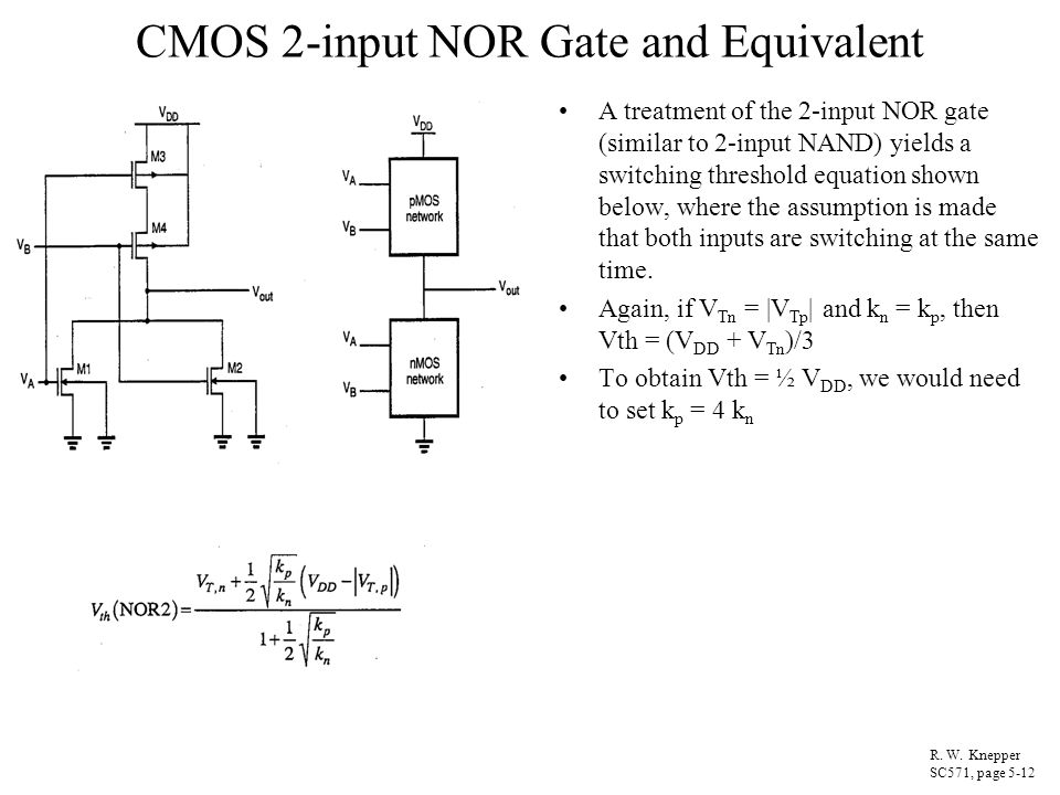 CMOS 2-input NOR Gate and Equivalent