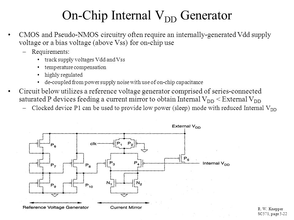 On-Chip Internal VDD Generator