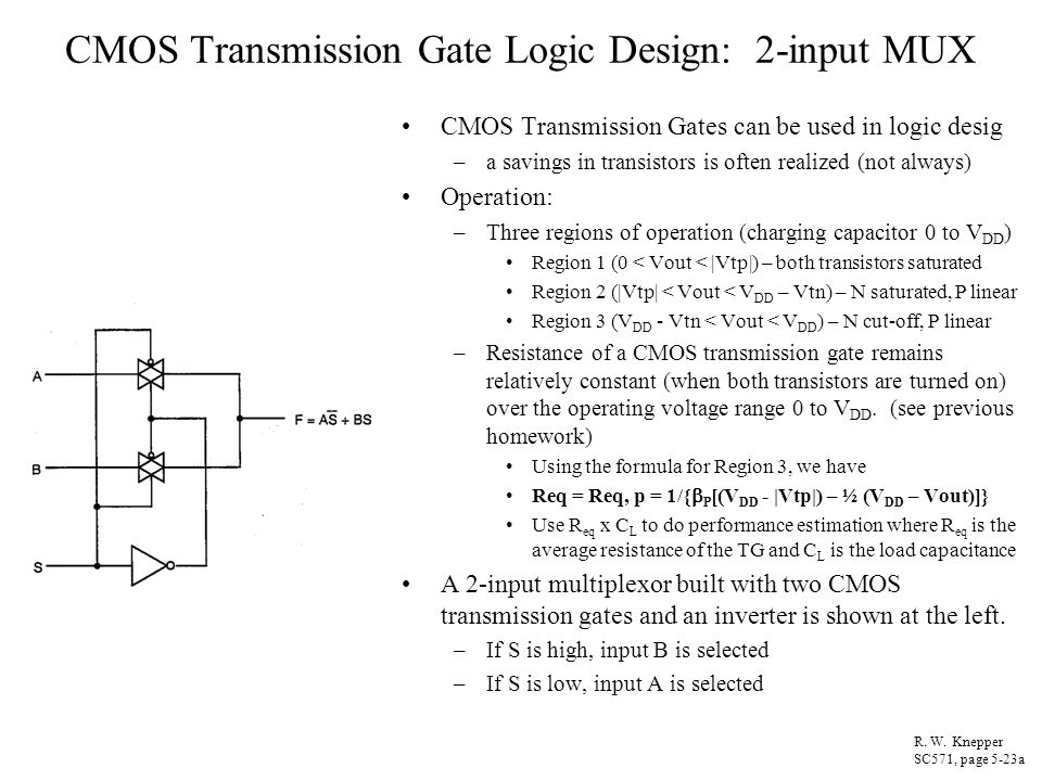 CMOS Transmission Gate Logic Design: 2-input MUX