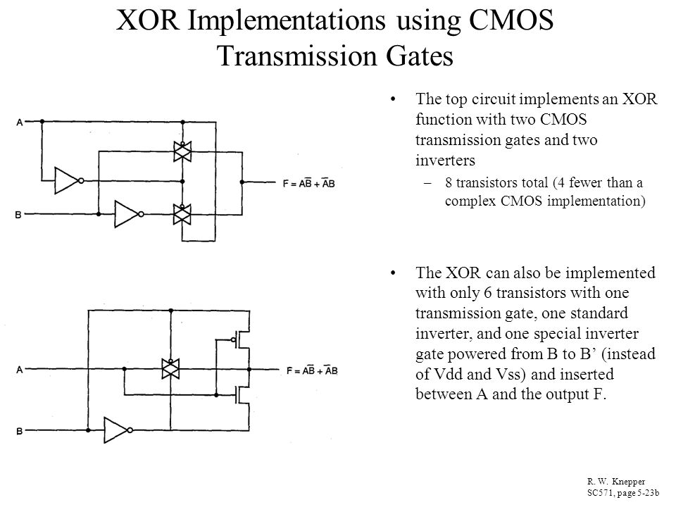 XOR Implementations using CMOS Transmission Gates