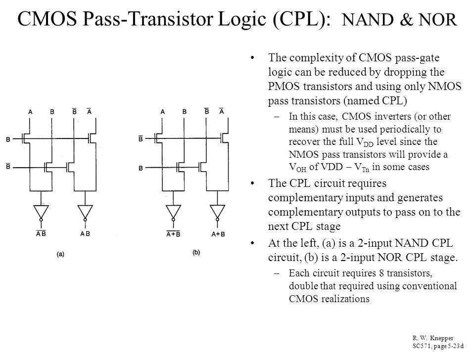 CMOS Pass-Transistor Logic (CPL): NAND & NOR