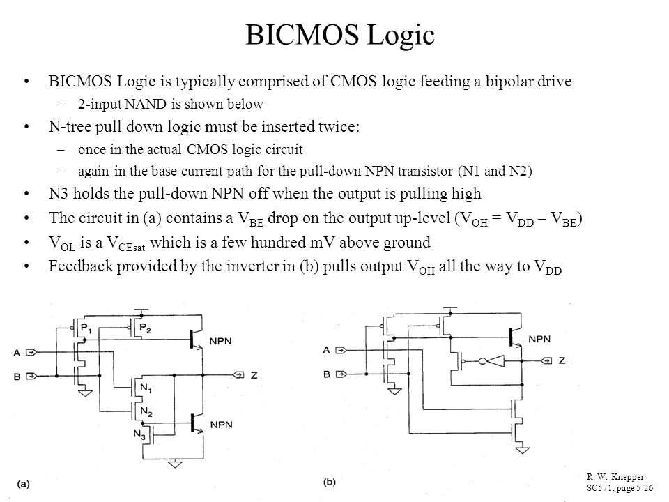 BICMOS Logic BICMOS Logic is typically comprised of CMOS logic feeding a bipolar drive. 2-input NAND is shown below.