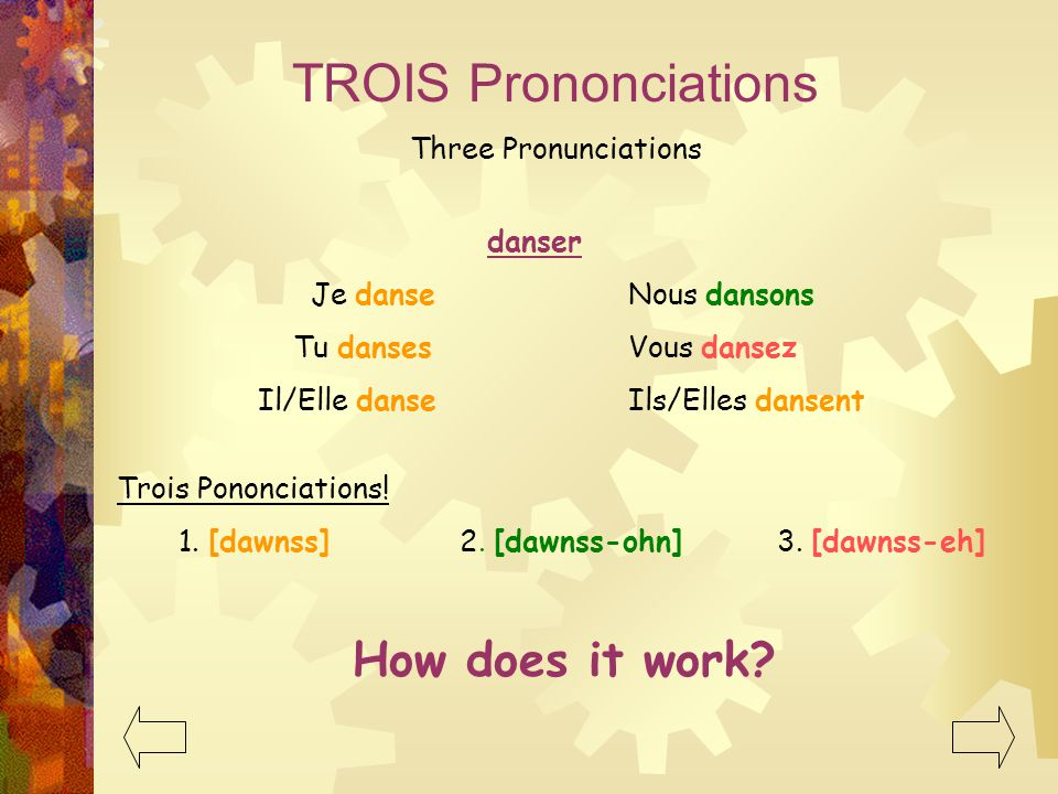 TROIS Prononciations How does it work Three Pronunciations danser