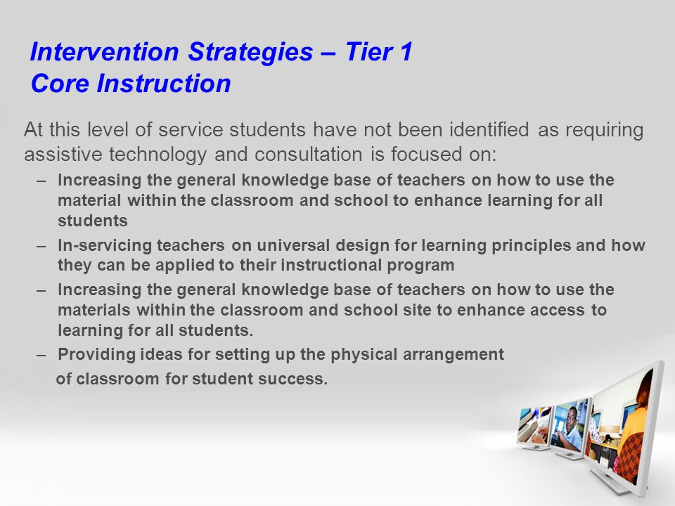 Intervention Strategies – Tier 1 Core Instruction