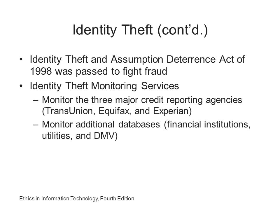 Identity Theft (cont'd.)