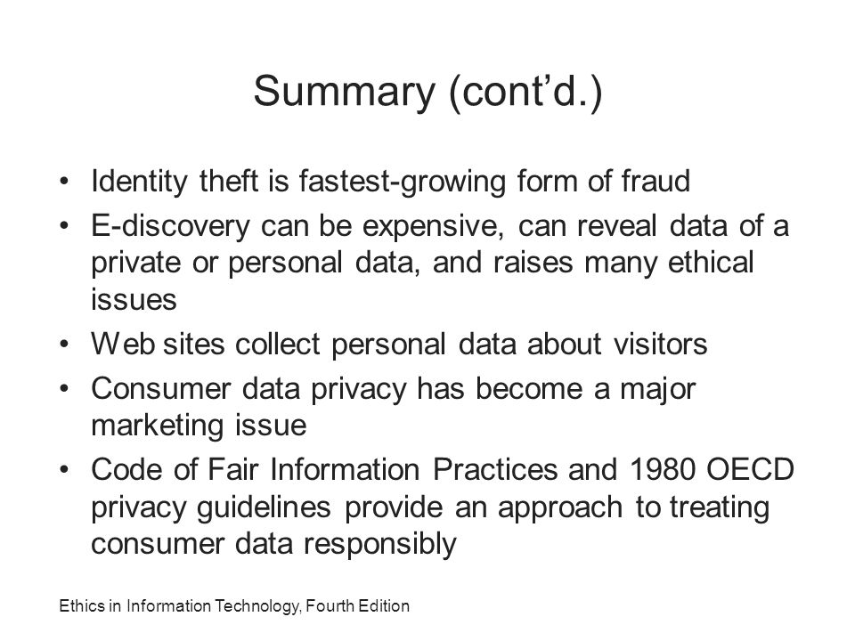 Summary (cont'd.) Identity theft is fastest-growing form of fraud