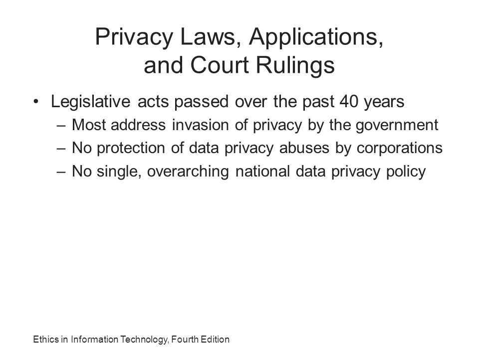 Privacy Laws, Applications, and Court Rulings