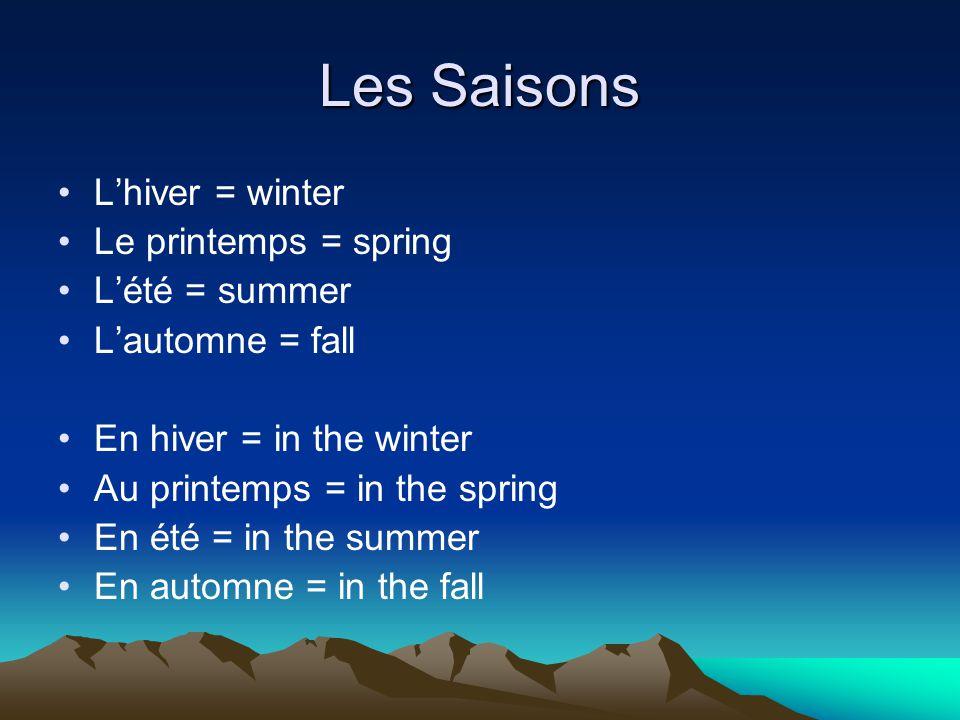 Les Saisons L'hiver = winter Le printemps = spring L'été = summer