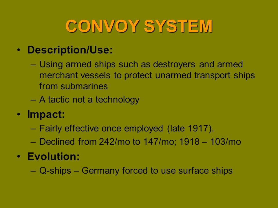 CONVOY SYSTEM Description/Use: Impact: Evolution:
