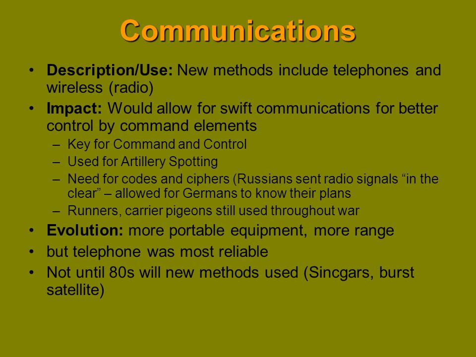 Communications Description/Use: New methods include telephones and wireless (radio)