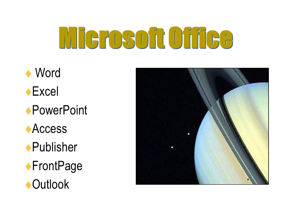 Microsoft Office Word Excel PowerPoint Access Publisher FrontPage