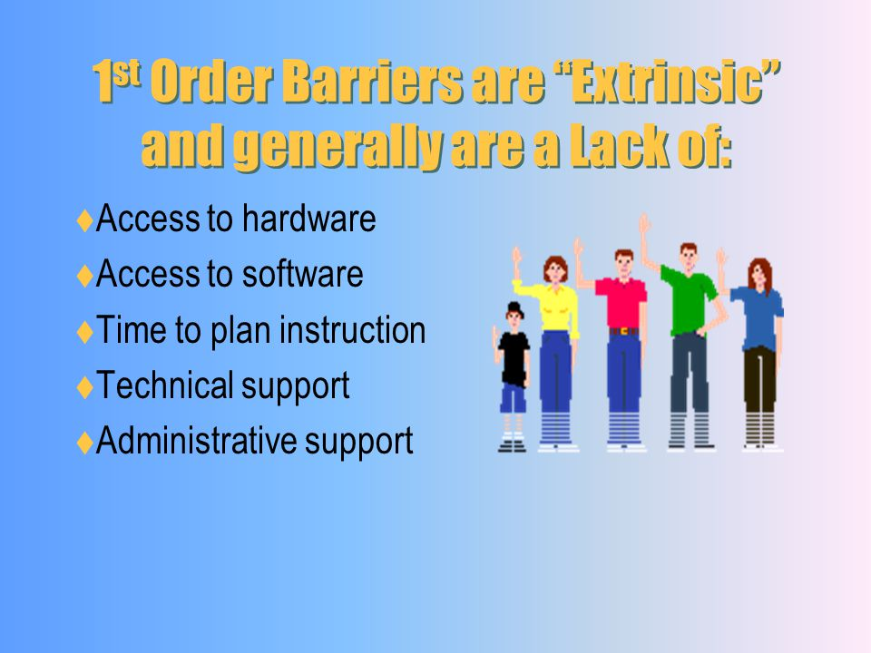 1st Order Barriers are Extrinsic and generally are a Lack of: