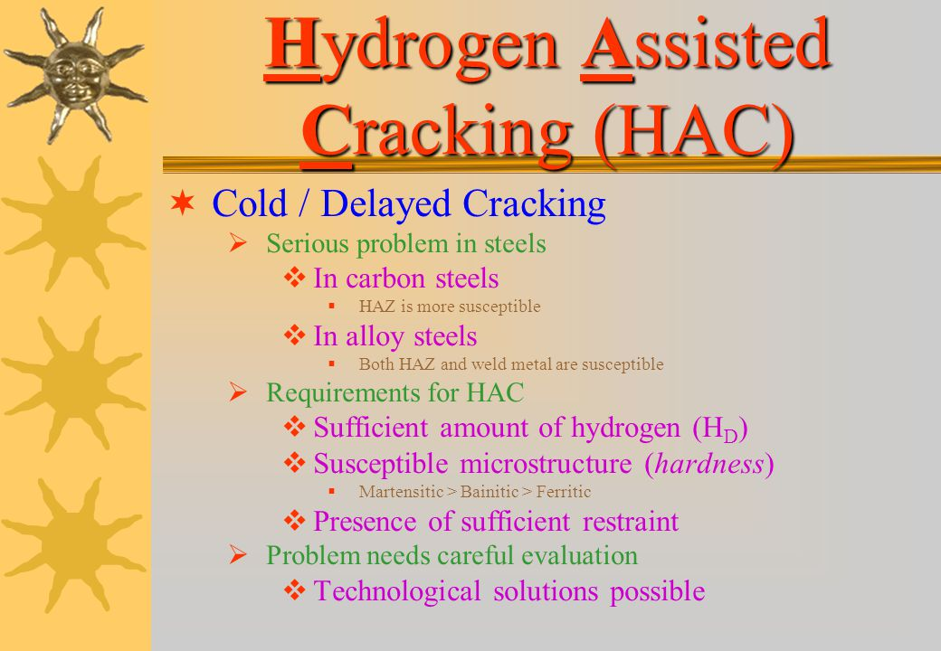 Hydrogen Assisted Cracking (HAC)