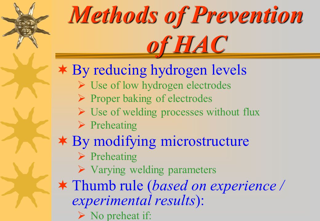 Methods of Prevention of HAC