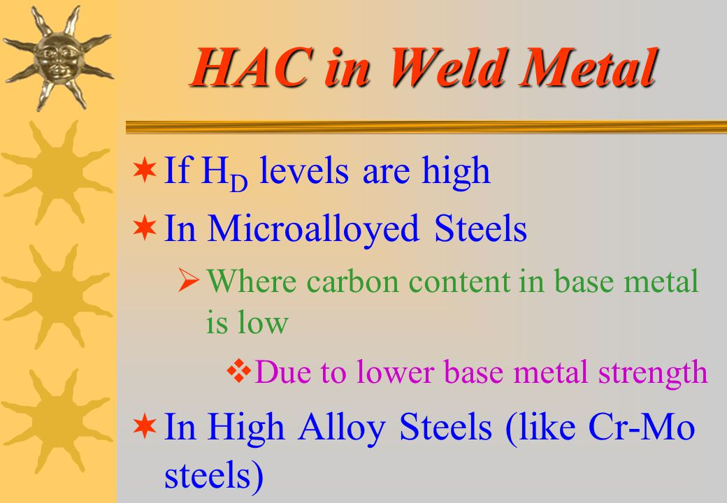 HAC in Weld Metal If HD levels are high In Microalloyed Steels