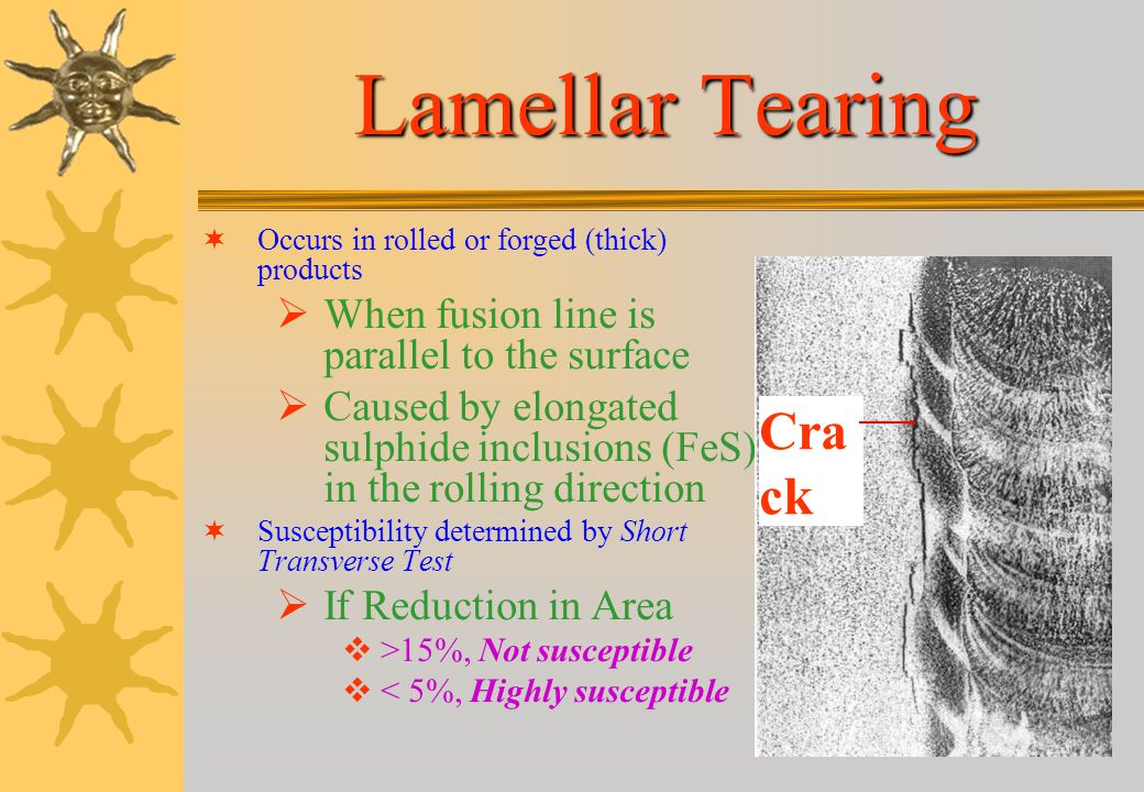 Lamellar Tearing Crack When fusion line is parallel to the surface