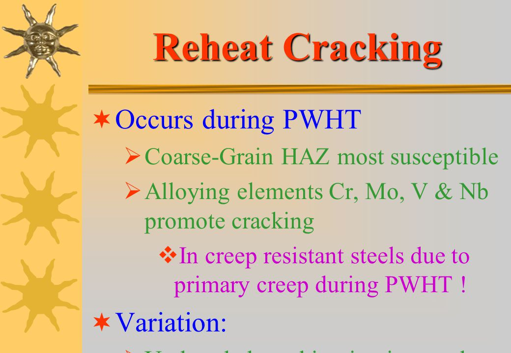 Reheat Cracking Occurs during PWHT Variation:
