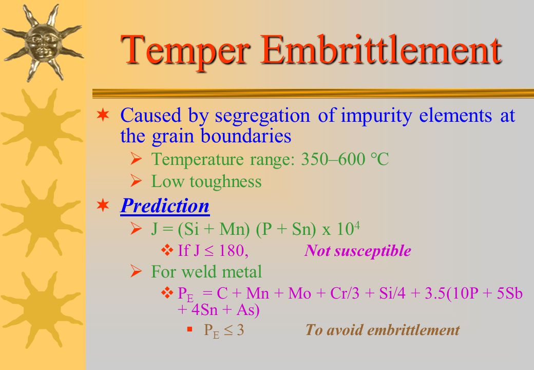 Temper Embrittlement Caused by segregation of impurity elements at the grain boundaries. Temperature range: 350–600 °C.