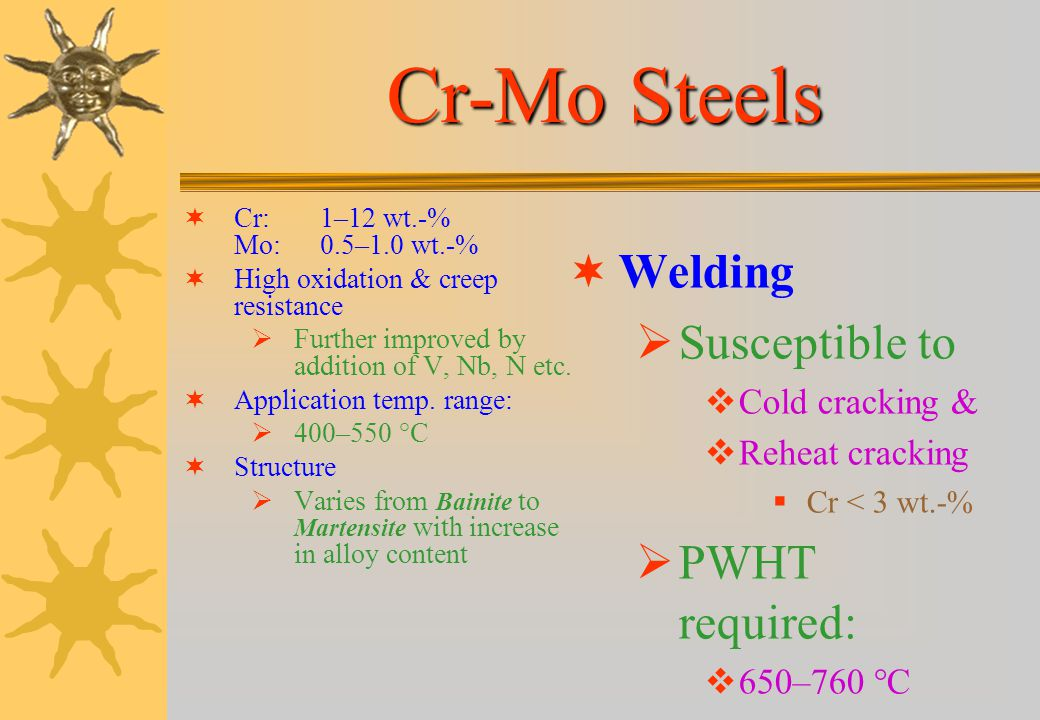 Cr-Mo Steels Welding Susceptible to PWHT required: Cold cracking &
