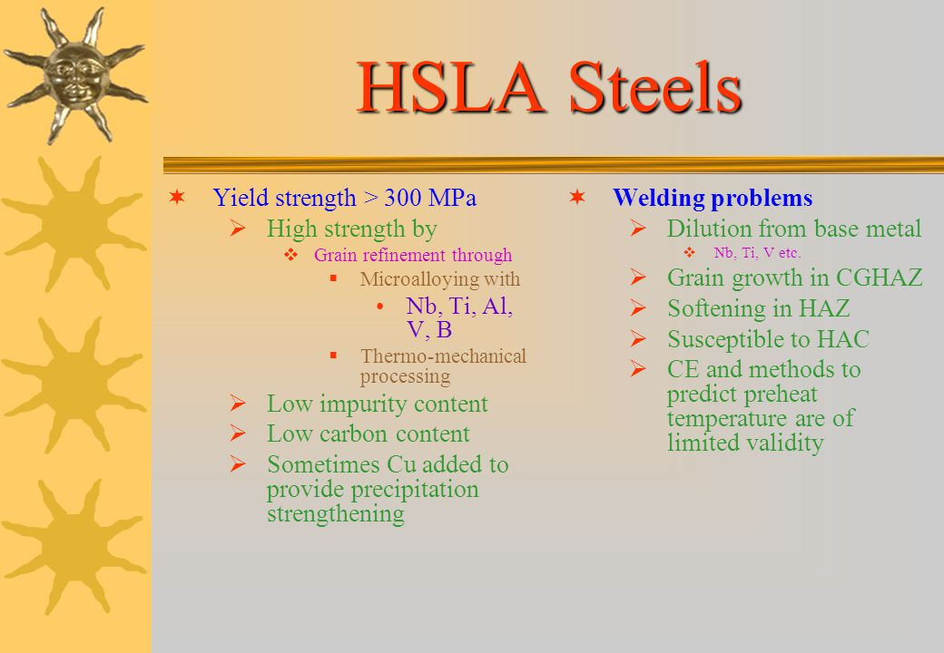 HSLA Steels Yield strength > 300 MPa High strength by